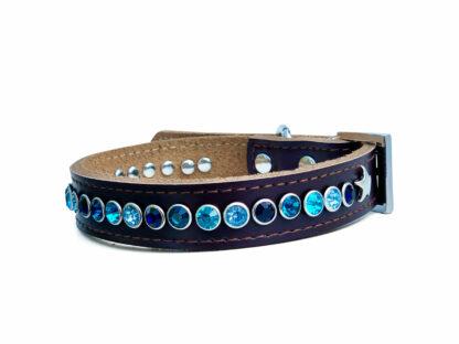 Halsband Dexter bruin, blauwe tinten