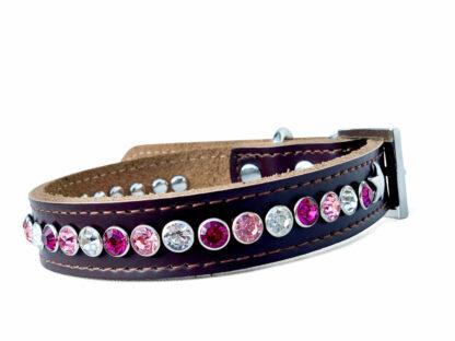 Bruine halsband Luna, roze tinten
